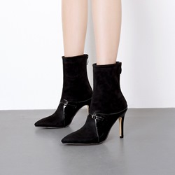 Shoespie Black Buckle Stiletto Heel Ankle Boots
