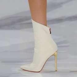 Shoespie Chic Runway Plain White Stiletto Heel Fashion Booties