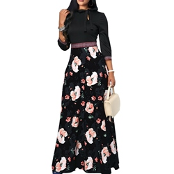 Bow Collar Floral Print Bowknot Women's Maxi Dress