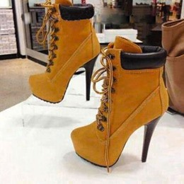 Shoespie Amazing Platform Stiletto Heels Lace-up Ankle Boots