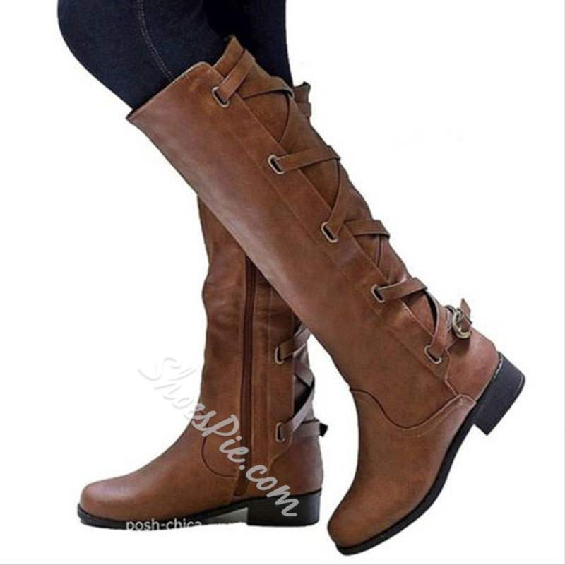 Shoespie Casual Buckle Side Zipper Knee High Boots