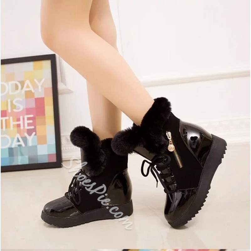 Shoespie Lace Up Warm Purfle High Top Sneakers