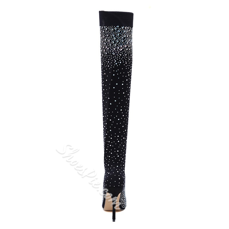 Shoespie Black Rhinestone Stiletto Heel Thigh High Boots