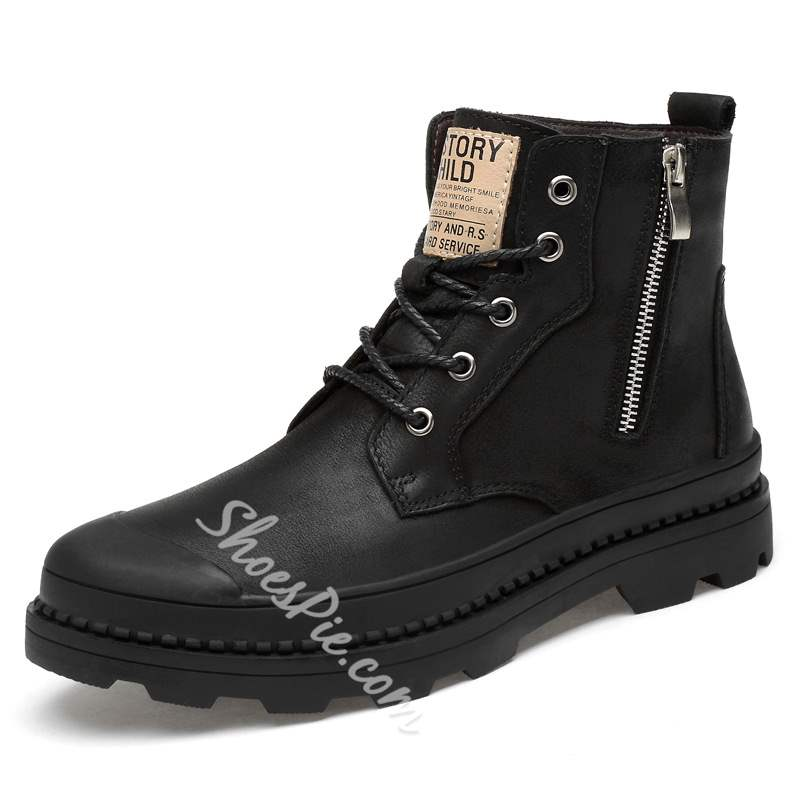 Shoespie Black Side Zipper Lace-Up Men's Boots