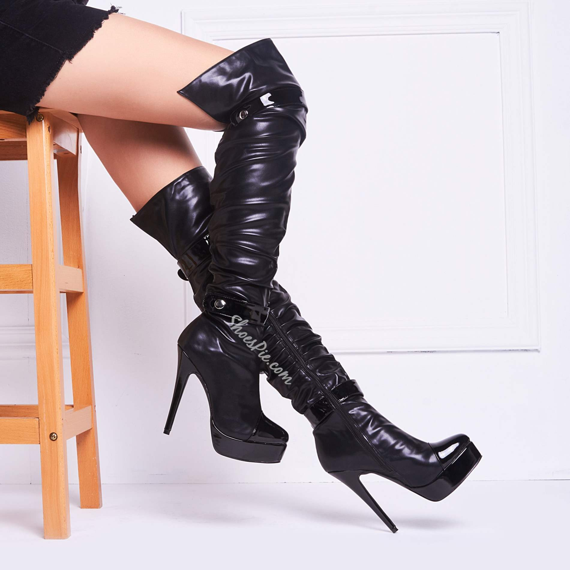 Fashionable Black Button Over Knee High Boots