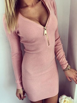 Long Sleeve Plain Pencil V Neck Women's Bodycon Dress