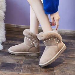 Shoespie Casual Fluffy Beads Slip-On Snow Boots