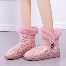 Shoespie Casual Warm Fluffy Side Zipper Snow Boots