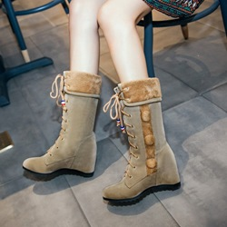 Shoespie Purfle Hidden Elevator Heel Lace Up Snow Boots