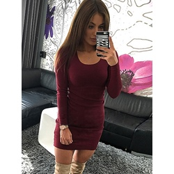 Polyester Pullover Scoop Women's Bodycon Dress