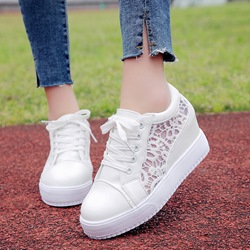 Shoespie Mesh Lace Up Hollow Hidden Elevator Heel Sneakers