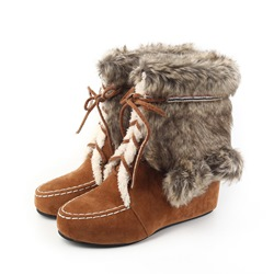 Shoespie Fluffy Hidden Elevator Heel Ankle Snow Boots