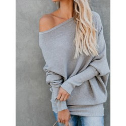 Regular Oblique Collar Women's Sweater