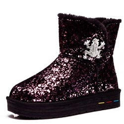 Shoespie Casual Warm Platform Sequin Snow Boots