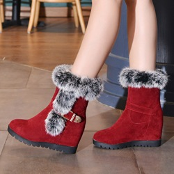 Shoespie Fluffy Hidden Elevatoe Heel Snow Ankle Boots