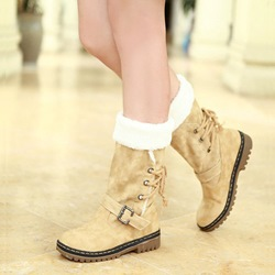 Shoespie Casual Flat Buckle Fur Lined Snow Boots
