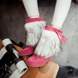Shoespie Bow Hidden Heel Slip On Ankle Snow Boots