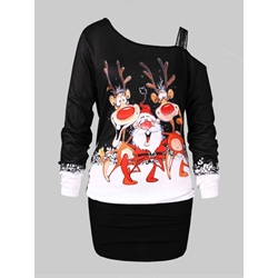Long Sleeve Cartoon Print Women's Bodycon Dress