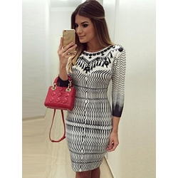 Office Lady Polyester Print Women's Bodycon Dress