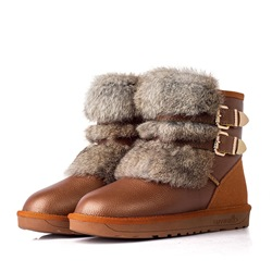 Shoespie Warm Buckle Slip-On Ankle Snow Boots