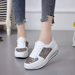 Shoespie Casual Sequin Lace Up Platform Sneakers