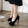 Black Suede Rivet Platform Peep Toe Stiletto Heels