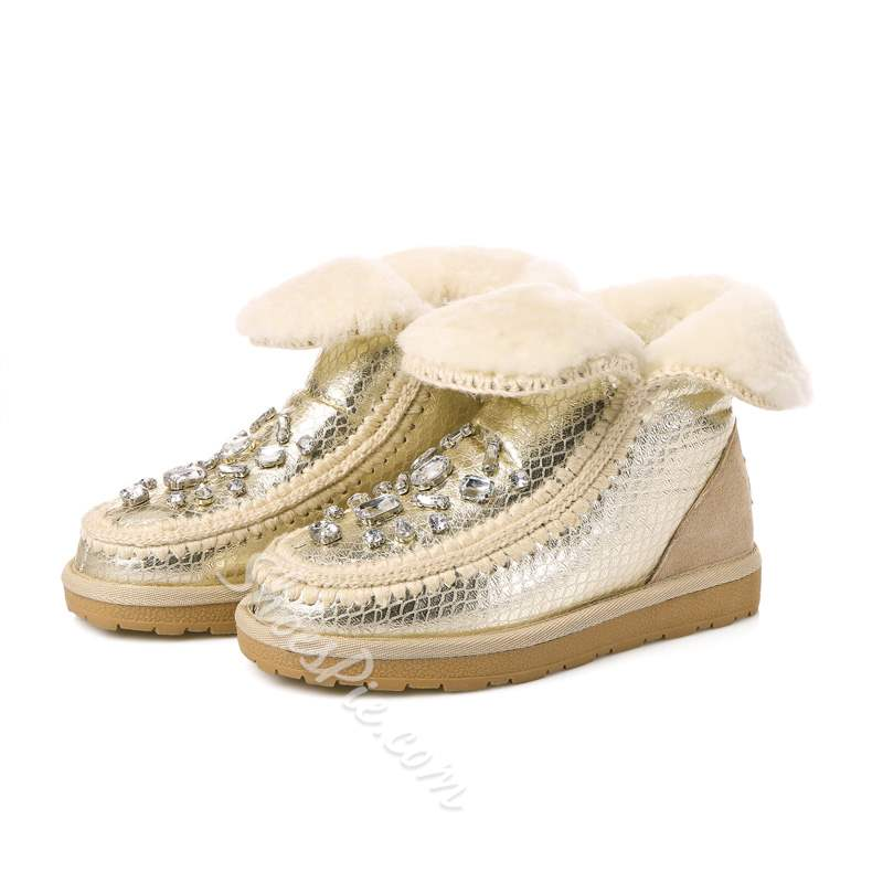 Shoespie Casual Warm Rhinestone Slip-On Snow Boots