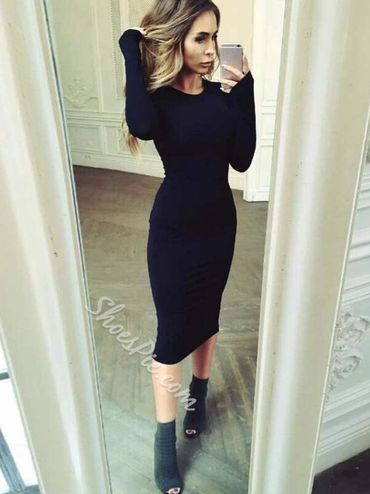 Long Sleeve Fall Pullover Women's Bodycon Dress
