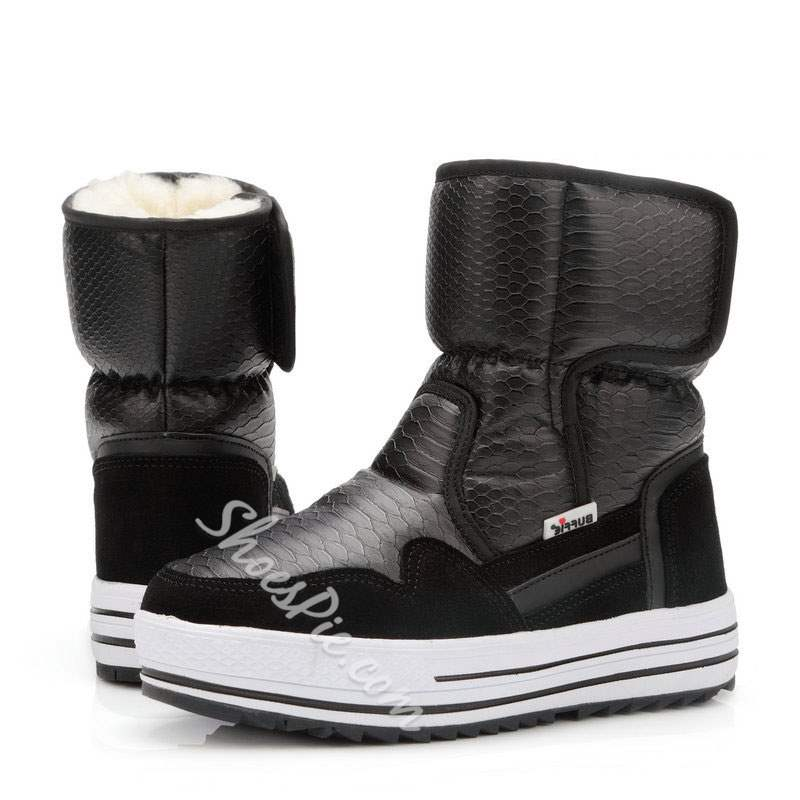 Shoespie Casual Alligator Pattern Velcro Snow Boots