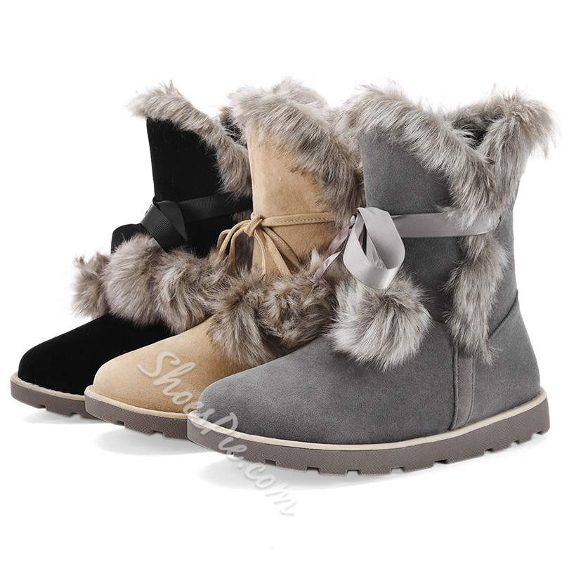 Shoespie Casual Lace-Up Pompon Snow Boots
