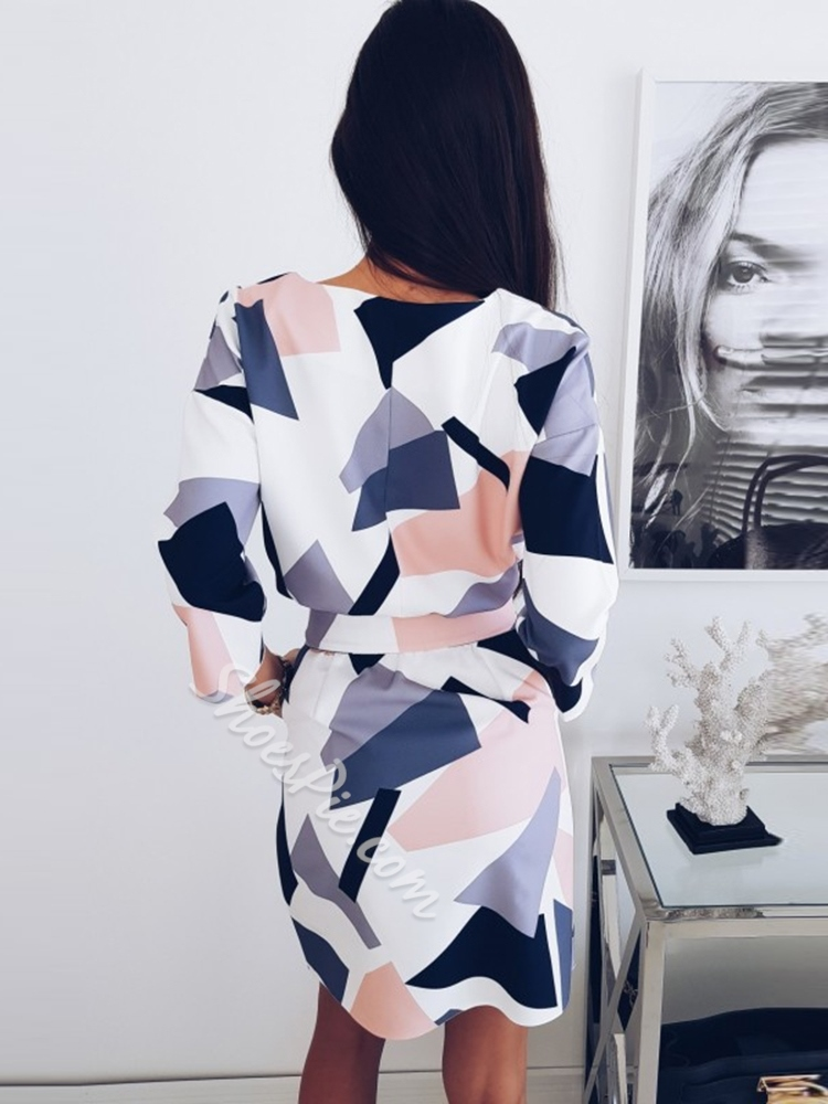 Polyester Fall Geometric Print Women's Bodycon Dress