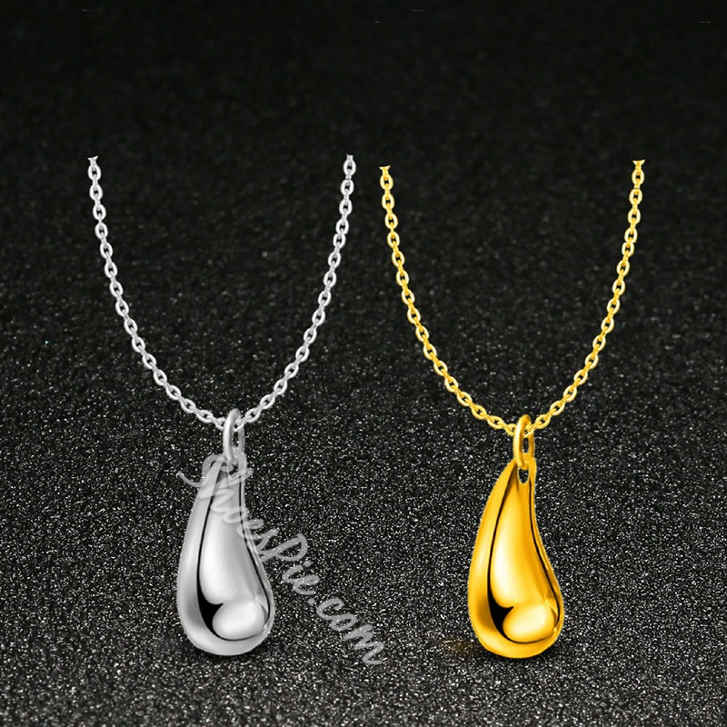 Water Drop Shape Polishing Silver Plated 4 Piece Jewelry Sets