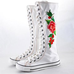 Shoespie Canvas Floral Lace Up Knee High Boots