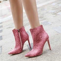 Shoespie Serpentine Side Zipper Stiletto Heel Ankle Boots