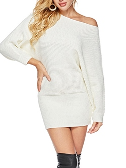 Batwing Sleeve Sweater Pullover Women's Bodycon Dress