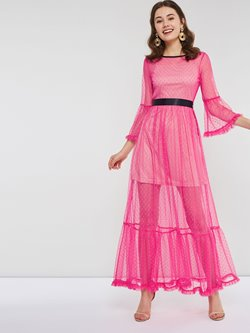Ankle-Length Flare Sleeve Cotton Expansion Women's Maxi Dress