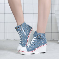 ShoespiePlatform Buckle Lace-Up Wedge Ankle Boots