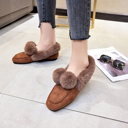 Shoespie Warm Pompon Slip On Flat Snow Loafers
