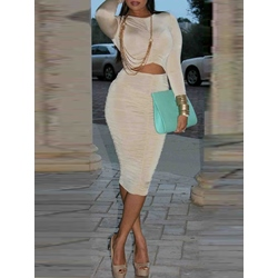 Long Sleeve Pleated Fall Sexy Women's Bodycon Dress