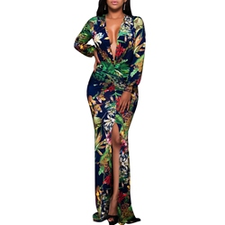 Long Sleeve Pullover Print V Neck Women's Maxi Dress