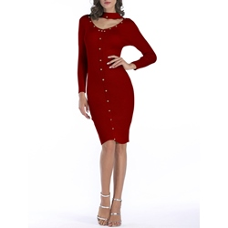 Long Sleeve Button Fall Women's Bodycon Dress