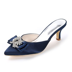 Shoespie Rhinestone Slip-On Low Heel Wedding Bridal Shoes