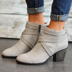 Shoespie Retro Side Zipper High Heel Ankle Boots