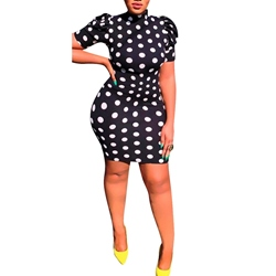 Polka Dots Sexy Lace-Up Backless Women's Bodycon Dress
