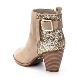 Shoespie Sequin Buckle Side Zipper Ankle Boots