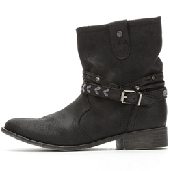 Shoespie Casual Buckle Side Zipper Flat Ankle Boots