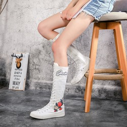 Shoespie Canvas Floral Appliques Knee High Boots