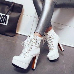 Shoespie Rivet Platform Lace-Up High Heel Ankle Boots