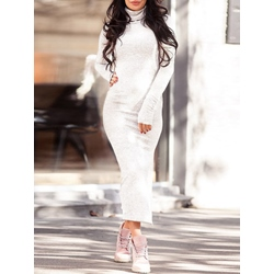 Long Sleeve Turleneck Plain Women's Bodycon Dress