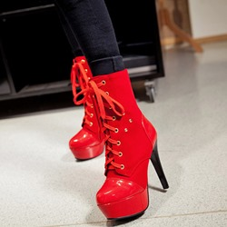 Shoespie Platform Lace-Up Stiletto Heel Ankle Boots